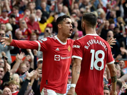 Manchester United's Cristiano Ronaldo celebrates after scoring his first goal on return to Old Trafford