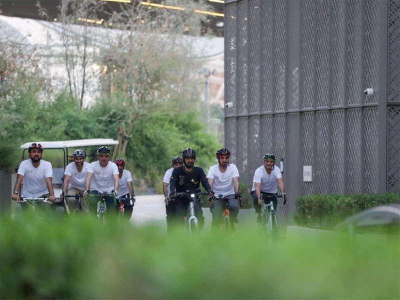 Sheikh Mohammed bin Rashid takes bike tour of Expo 2020 site