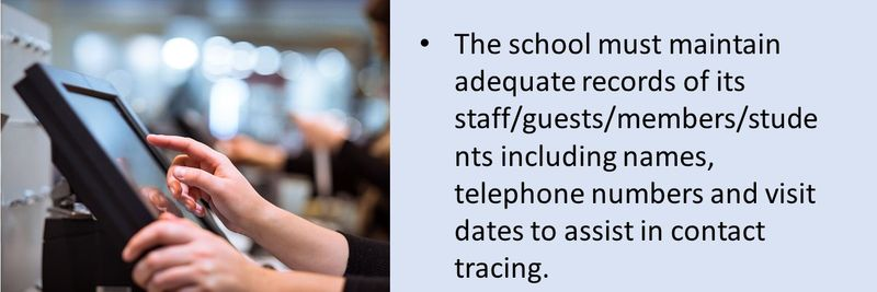 The school should abide by the contact tracing procedures, by providing DHA with all records needed to trace potential contacts of the confirmed COVID-19 cases.