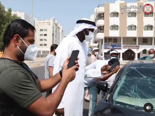 taking pictures of accident sites screenshot abu dhabi police instagram account