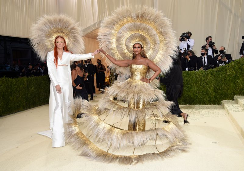 Iman (right) at the Met Gala 2021