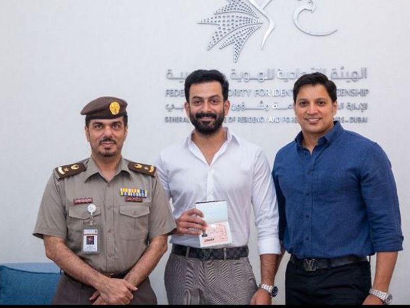Prithviraj with his UAE golden visa