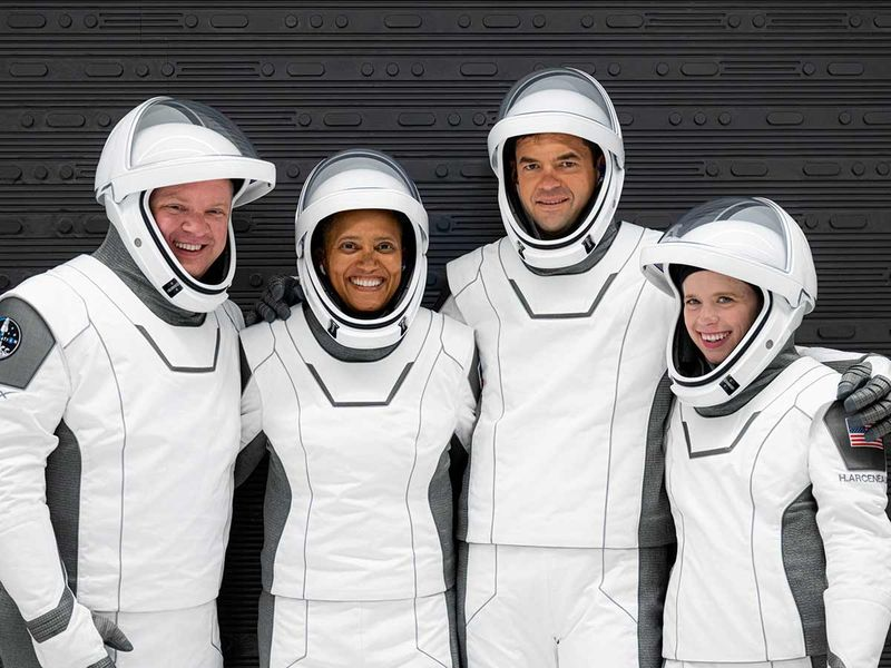 The Inspiration4 crew of Chris Sembroski, Sian Proctor, Jared Isaacman and Hayley Arceneaux poses while suited up for a launch rehearsal in Cape Canaveral, Florida on September 12, 2021. Picture taken September 12, 2021.