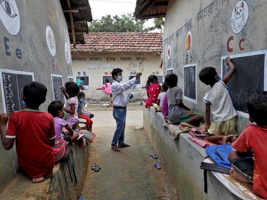 Deep Narayan Nayak india village blackboard school