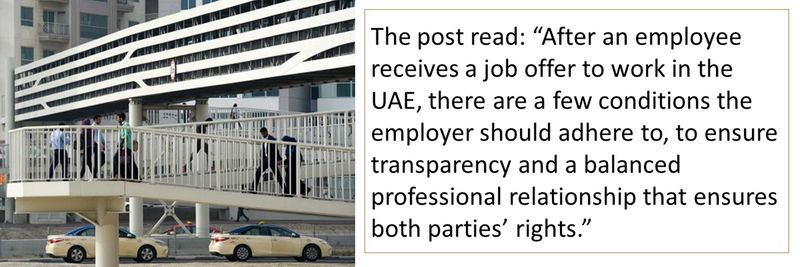 """The post read: """"After an employee receives a job offer to work in the UAE, there are a few conditions the employer should adhere to, to ensure transparency and a balanced professional relationship that ensures both parties' rights."""""""