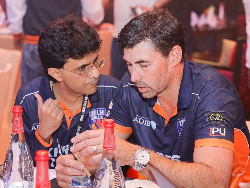 Anis Sajan with Chennai coach Stephen Fleming