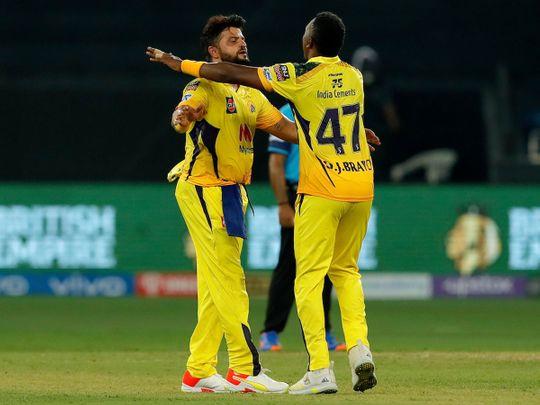 Dwayne Bravo of Chennai Super Kings celebrates the win over Mumbai Indians