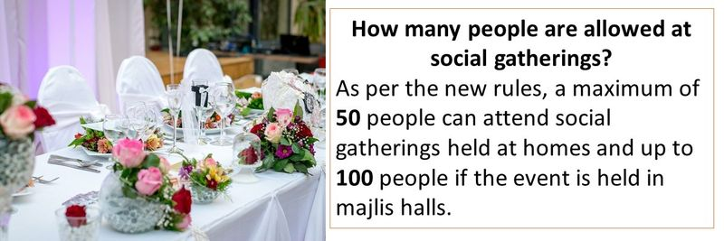 How many people are allowed at social gatherings? As per the new rules, a maximum of 50 people can attend social gatherings held at homes and up to 100 people if the event is held in majlis halls.