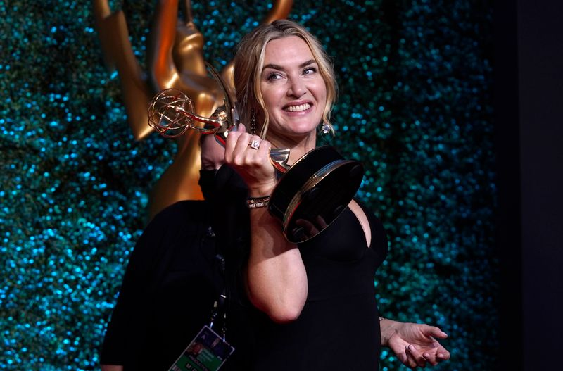 Kate Winslet with her Emmy