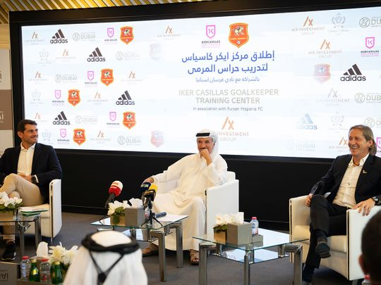 Legendary Spain goalkeeper Iker Casillas, Saeed Hareb - Secretary General of Dubai Sports Council and  Real Madrid star Michel Salgado at the press conference