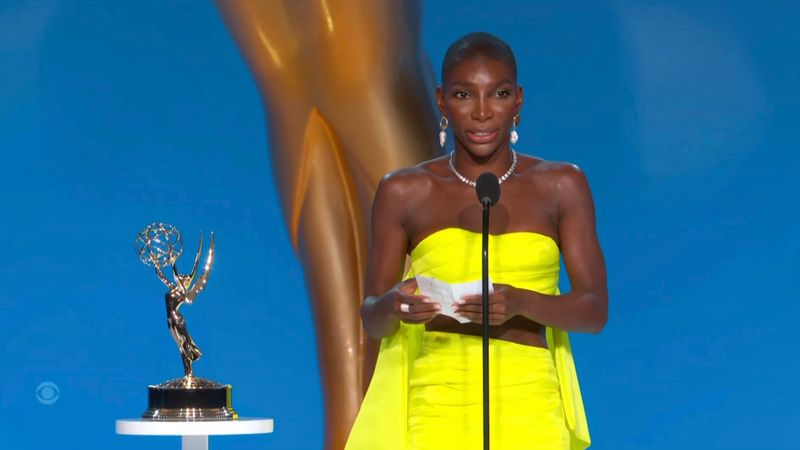 Michaela Coel with her Emmy