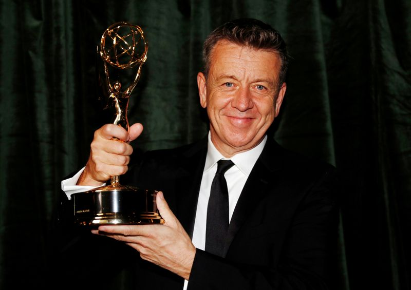 Peter Morgan with the Emmy