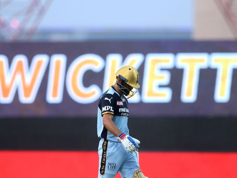 RCB's Virat Kohli walks back to the pavilion after getting out during match 31 of the Indian Premier League against Kolkata Knight Riders