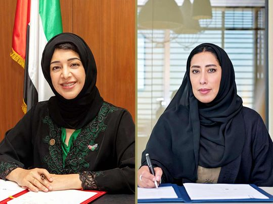 Reem Al Hashimi (left), Minister of State for International Cooperation, Director-General of the Expo 2020 Dubai Bureau, and Mona Al Marri, Vice-President of the UAE Gender Balance Council.