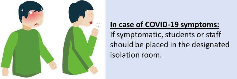Staff or students with symptoms must be referred to the Higher Education Institute (HEI) designated Health and Safety Officer (HSO) for further screening.  Physician or nurse, in personal protective kit, must continuously monitor the staff/student when in the isolation room.