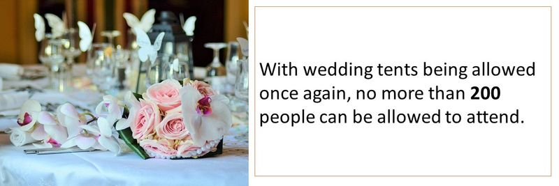 With wedding tents being allowed once again, no more than 200 people can be allowed to attend.