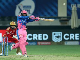Mahipal Lomror of Rajasthan Royals bats during the thriller against Punjab Kings in Dubai