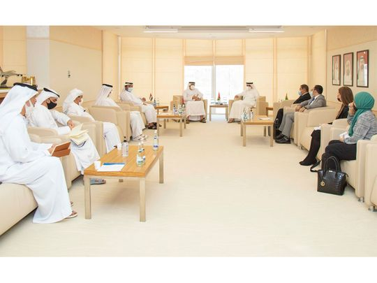 Officials attend the Abu Dhabi Judicial Department meeting on the Abu Dhabi CAS Alternative Hearing Centre