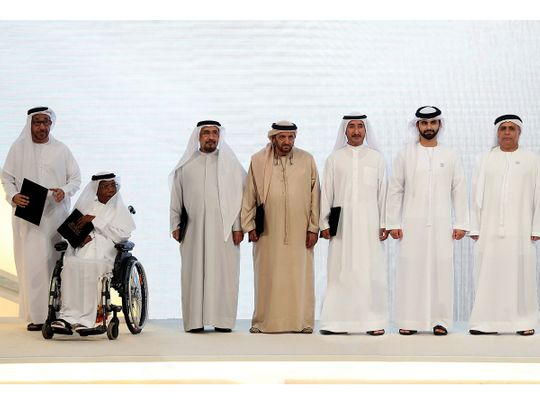 Sheikh Mansoor bin Mohammed with members of the Dubai Sports Council's Board of Directors