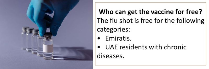 Who can get the vaccine for free? The flu shot is free for the following categories: •Emiratis. •UAE residents with chronic diseases.