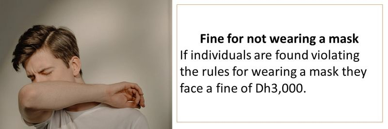 Fine for not wearing a mask If individuals are found violating the rules for wearing a mask they face a fine of Dh3,000.