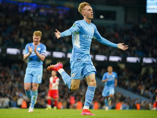 Manchester City's Cole Palmer celebrates his first ever goal for the club against Wycombe Wanderers