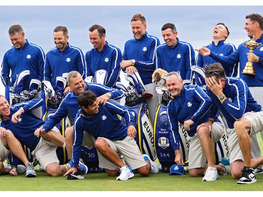 Team Europe share a laugh during their photoshoot ahead of the Ryder Cup