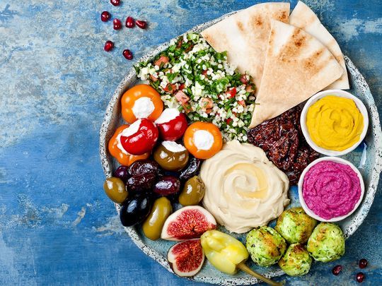 A Lebanese mezze platter