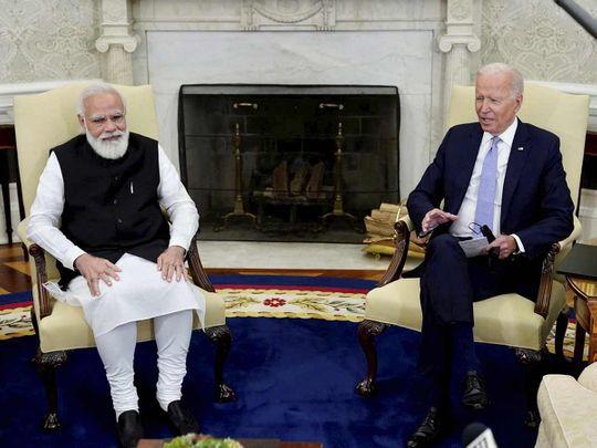 India's Prime Minister Narendra Modi with US President Joe Biden