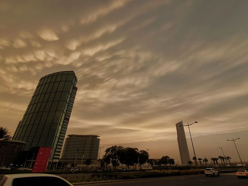 Sand storm and clouds over Dubai