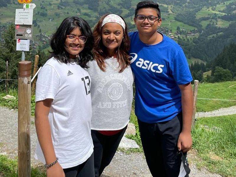 Nilanjana Javed with her kids