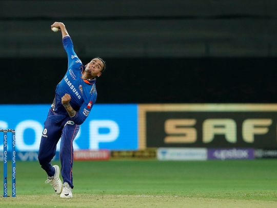 Rahul Chahar of Mumbai Indians bowling during Match 39 of the Indian Premier League between RCB and Mumbai