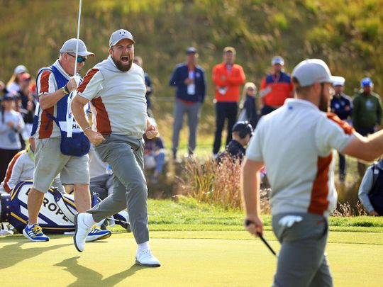 Shane Lowry of Team Europe celebrates on the 14th green
