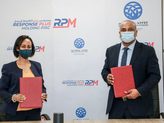 Ethiopian Minister of Health H.E Dr. Lia Tadesse and CEO of Response Plus Holdings PJSC Major Tom Louis after signing an MoU