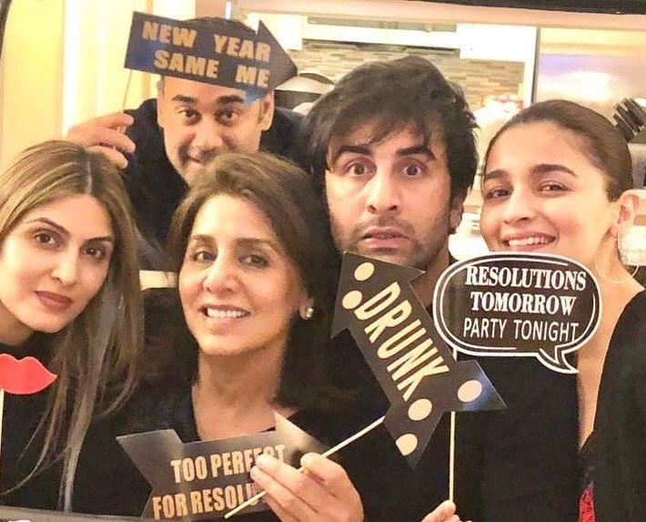 Ranbir Kapoor, Neetu Kapoor, Alia Bhatt and Ridhima Kapoor Sahni