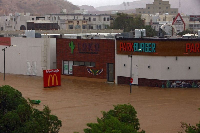A picture shows flooding in the Omani capital Muscat, as the Shaheen tropical storm hits the country. - One child has died in flash flooding while flights and schools have been suspended as tropical Cyclone Shaheen bears down on Oman, authorities said.