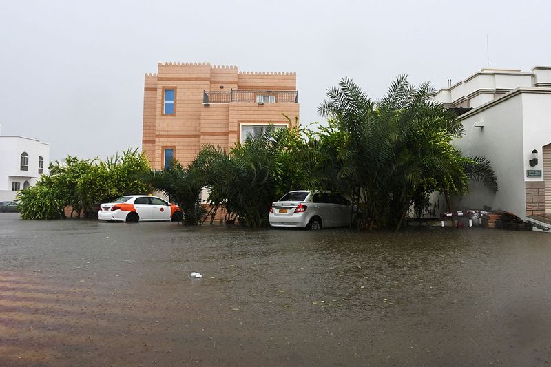 Flooded streets are seen as Cyclone Shaheen makes landfall in Muscat Oman, October 3, 2021.