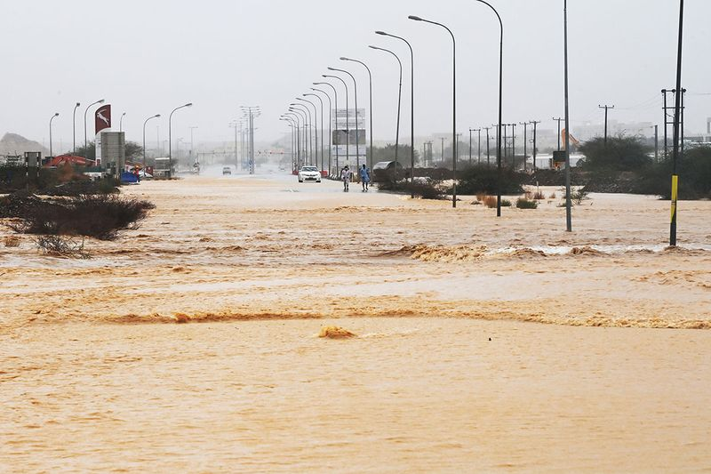 Flooded streets are seen as Cyclone Shaheen makes landfall in Muscat Oman