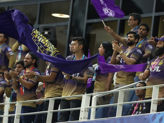 Kolkata Knight Riders fans were out in force in Dubai for their match against Sunrisers Hyderabad