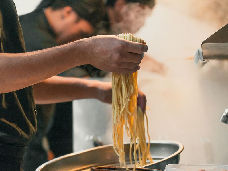 Preparing the noodles