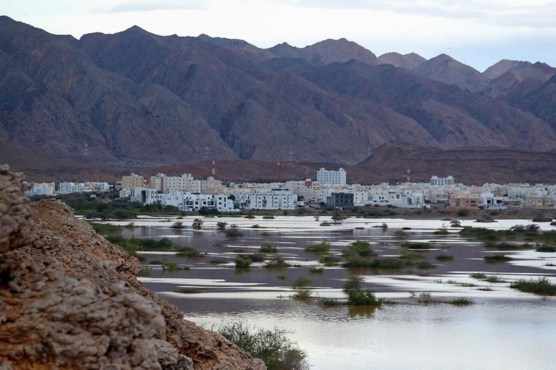 A general view shows Ansab Dam amid cyclone Shaheen in Oman's capital Muscat on October 3, 2021.
