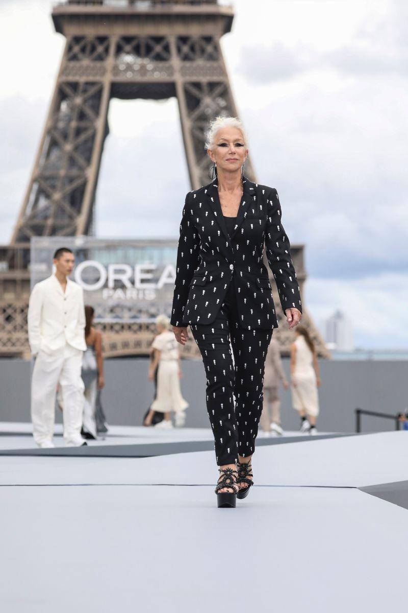 Helen Mirren at Paris Fashion Week