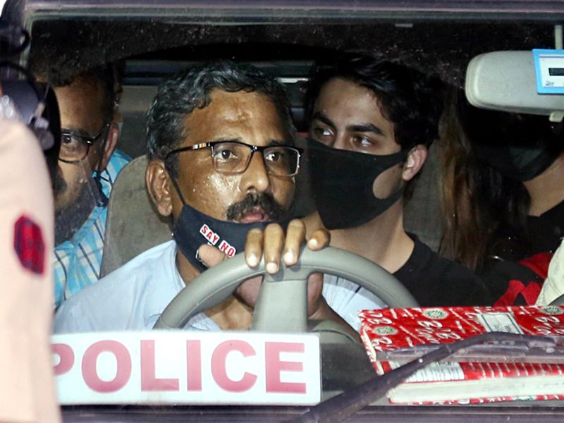 Aryan Khan in a police van after his court session in Mumbai
