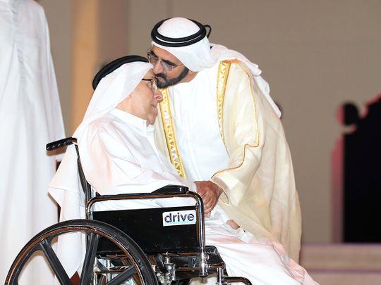 File pic of Sheikh Mohammed bin Rashid with his former teacher Muhammed Al Saket Al Falasi