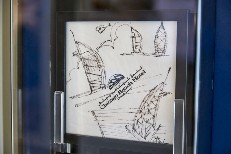 Here's the paper napkin that Tom Wright first sketched the Burj Al Arab on.