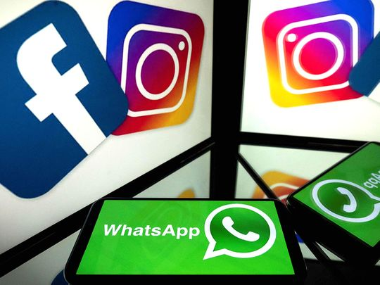 STOCK Facebook, Instagram and mobile messaging service WhatsApp
