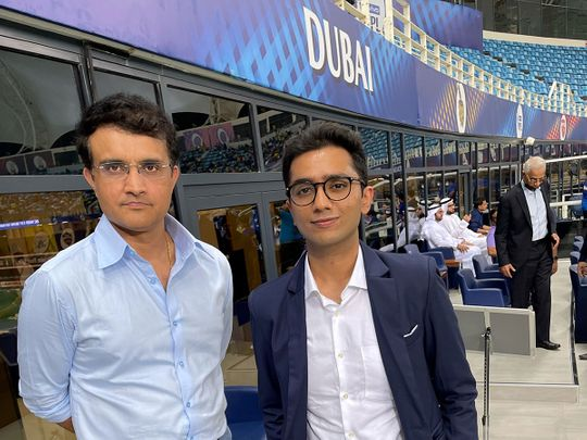 Sourav Ganguly with Gulf News cricket expert and superfan Sahil Sajan