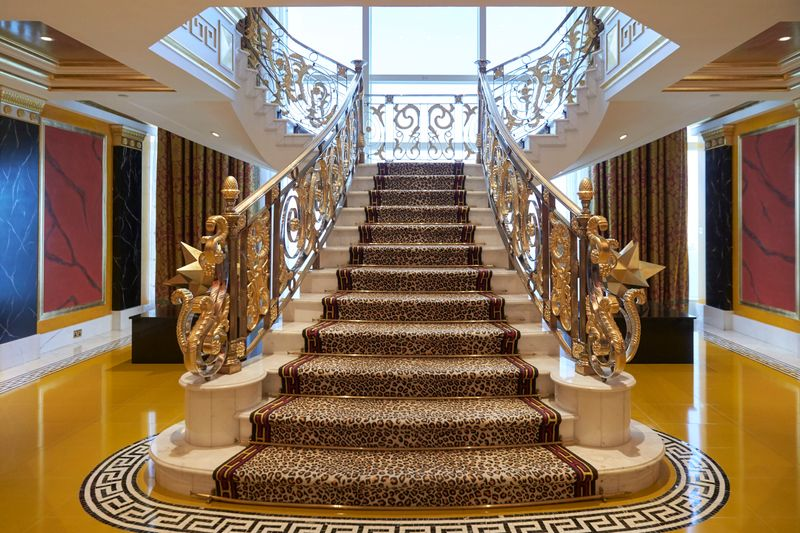 There's a royal reason for the leopard-print carpets on the staircase.