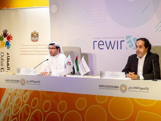 Dubai-Cares-CEO-Dr-Tariq-Al-Gurg-(left)-and-Omar-Shehadeh,-Chief-International-Participants-Office,-Expo-2020-Dubai,-at-Tuesday's-press-conference-on-RewirED-Summit-at-Expo-2020-Dubai-1633501792708