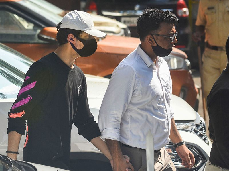 Bollywood actor Sharukh Khan's son Aryan Khan, accused in a drug bust case, being taken from NCB office to the Killa court in Mumbai, Thursday, October 7, 2021.
